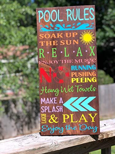 Yanmuuu Pool Rules | Make a Spalsh | Summertime | helle Farben | Familienpool Schild