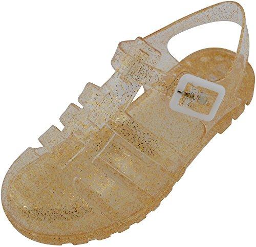 Sandalias brillantes para niños, niñas, chicas, calzado de verano para jardín, playa, vacaciones, sandalias con purpurina, estilo cangrejeras., color Dorado, talla 34 EU