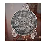Oracle YES NO Gothic Antique Silver Plated Challenge Coin Large Sculpted Keepsake with YES on one Side and NO with Death Angel on The Other Side 1.5' (38mm) Collectable with Display Stand