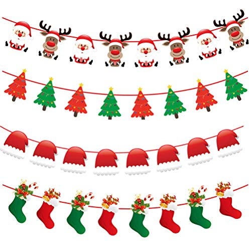 TOYANDONA 4Pcs Christmas Banner Holiday Party Banners Hanging Buntings Garland Hanging Decorations Photo Props for Christmas Party Fireplace Mantle Decorations