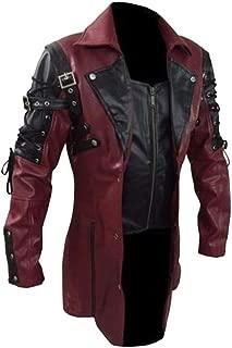 IZHH Mens Leather Jacket Motorcycle Biker Bomber Coat Vintage Winter Coat Parka