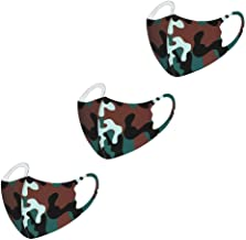 Children's Face Macks Washable Reusable Outdoor Face Bandanas Cute Pattern Dust Mouth Shield for Kids Boys Girls 3pc儿童纯棉可水洗防尘防雾霾 军绿色