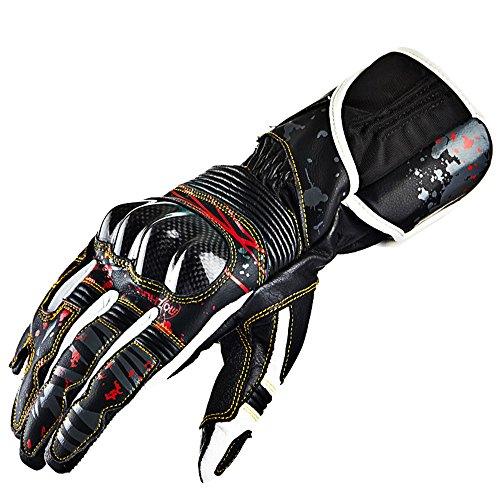 XXHDEE Outdoor Sports Carbon Fiber Lederen Motorfiets Handschoenen Racing Ridder Handschoenen, Zwarte handschoenen