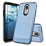 TJS Phone Case Compatible with LG K40/K12 Plus/X4/Solo LTE/Harmony 3/Xpression Plus 2, [Full Coverage Tempered Glass Screen Protector] Shockproof Metallic Brush Finish Hard Inner Layer (Blue)