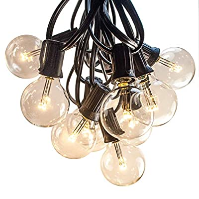Hometown Evolution, Inc. 100 FT Outdoor LED String Lights - G40 LED Globe Bulbs (Black Wire) - LED Outdoor String Lights for Patio Cafe Deck Party and Backyard Lighting