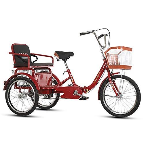ZNND Bicicletas reclinadas 20 Pulgadas Triciclo Plegable 3 Ruedas Bicicletas de montaña para Adultos Personas Mayores Hombres Mujeres con Cesta de la Compra Y Asiento Trasero (Color : Red)