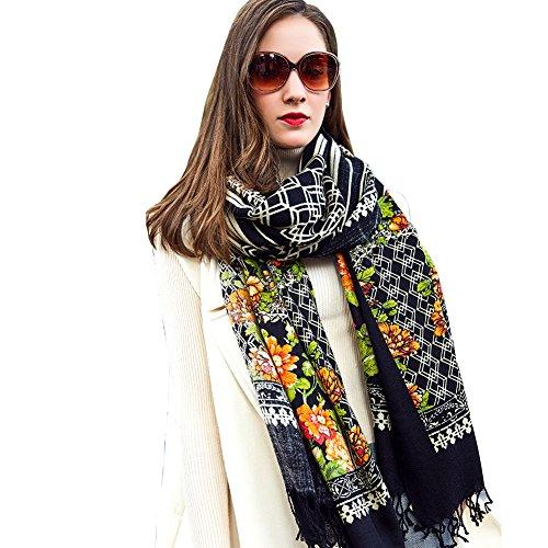 DANA XU 100% Pure Wool Women Winter Large Size Pashmina Travel Shawl