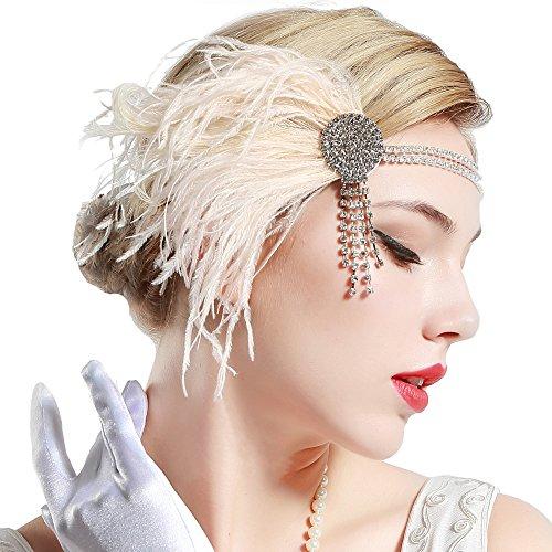 BABEYOND 1920s Feder Stirnband 20er Jahre Stil Flapper Satin Haarband Great Gatsby Stirnband Damen Kostüm Accessoires Rosa