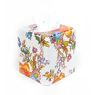 MacKenzie-Childs Flower Market Enamel Tissue Box Cover - White