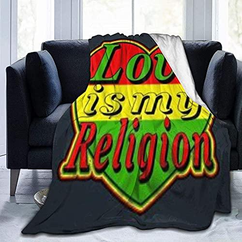 Manta ultra suave de forro polar, hoja de marihuana Reggae, manta cálida para decoración del hogar para sofá cama