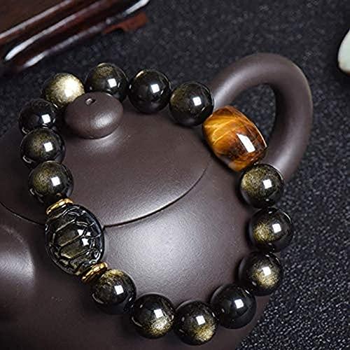 Pulseras de Hilo Baratas, Feng Shui Pulsera de Obsidiana Negra Pulsera de Ojo de Tigre Brazalete de Doble Pixiu/Pi Yao Amuleto de TalismáN Fuerte Atraer Dinero ProteccióN de Buena Suerte