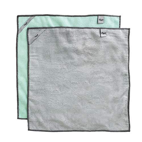 VIGAR Bayeta Pack de 2 Unidades, Microfibra-Material súper Absorbente y Suave al Tacto, Gris y Verde
