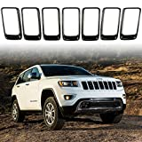 jeep grand cherokee grille guard - NO7RUBAN Grille Grill Cover Inserts Frame Trims Kit Clip-in for 2014-2016 Jeep Grand Cherokee Black Grill Ring 7pcs