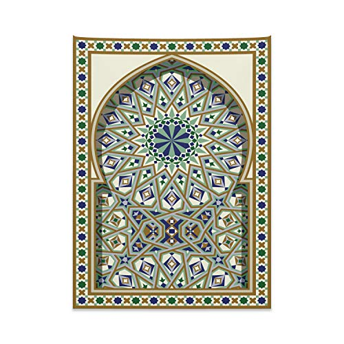 ABAKUHAUS Patrón De Turquía Tapiz de Pared y Cubrecama Suave, Arco Árabe, Material Resistente, 110 x 150 cm, Caramelo Verde Indigo