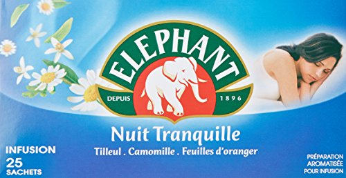 Elephant Infusion Nuit Tranquille, Tilleul Camomille et Fleur d'Oranger, Favorise l'endormissement et le bien-être, 25 Sachets