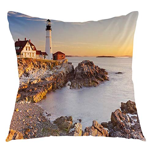 FULIYA United States Throw Pillow Cushion Cover Cape Elizabeth Maine River Portland Lighthouse Sunrise USA Coast Scenery Decorative Square Accent Pillow Case, 22' X 22',Blue Tan