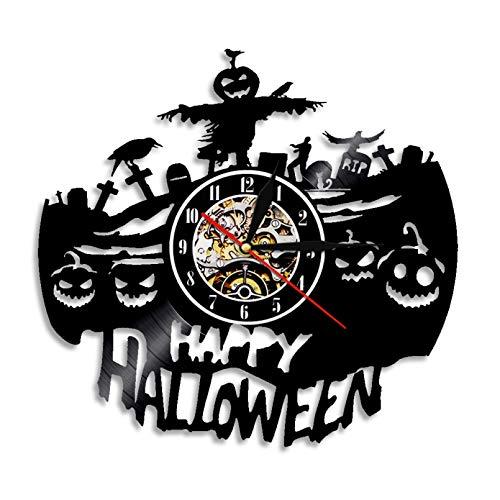 IANGL Castillo de Vampiros Reloj de Pared Hecho a Mano Halloween Horror Oscuro decoración del hogar murciélago Vampiro gótico Reloj de Pared con Disco de Vinilo Retro