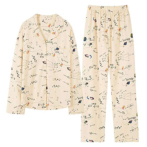 Pyjama Damen Nachthemd Schlafanzug Mode Nachtwäsche Damen Baumwolle Cute Pyjamas Mädchen Langarm Tops Hosen Mit Taschen Dot Casual Lounge Wear L 006