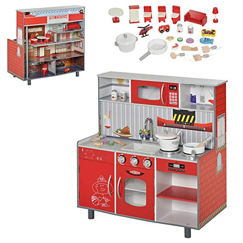 HOMCOM Kinderküche und Kinder Feuerwehrhaus aus Holz 2-in-1 Spielküche 4 Etagen Puppenhaus mit Zubehör 3 Jahre+ Rot Kiefer MDF 78 x 40 x 81 cm