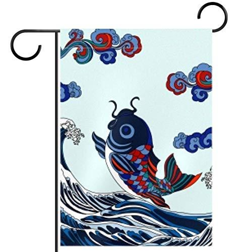 SLTshangdian Carp King - Bandera de jardín de temporada, doble cara, para primavera, verano, patio, decoración al aire libre, vacaciones, resistente a la intemperie, 71 x 101 cm