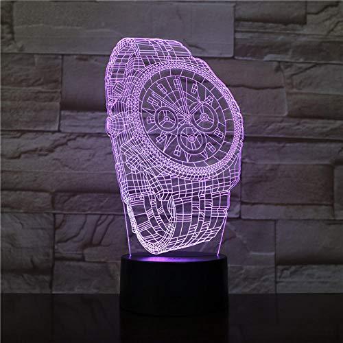 Luz de noche LED de ilusión 3D, interruptor táctil de 7 colores Lámpara de escritorio USB para Navidad decoraciones casa Reloj de pulsera abstracto Interruptor táctil