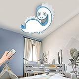 HIL Luz De Techo LED De Dibujos Animados Simples Para Niños, Luz De Techo Para Habitación De Bebé Dinosaurio Azul, Luz Regulable Remota, Iluminación Decorativa Para Habitación De Niños,55 * 55cm/28w