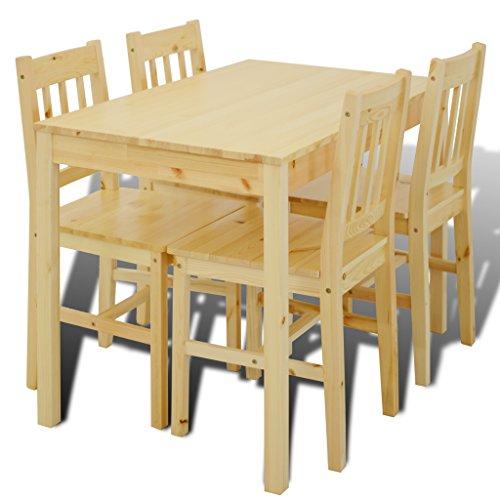 Festnight Set Sala da Pranzo,Set da Pranzo con Tavolo Rettangoalre e 4 Sedie con Schienale Moderne in Legno Massello
