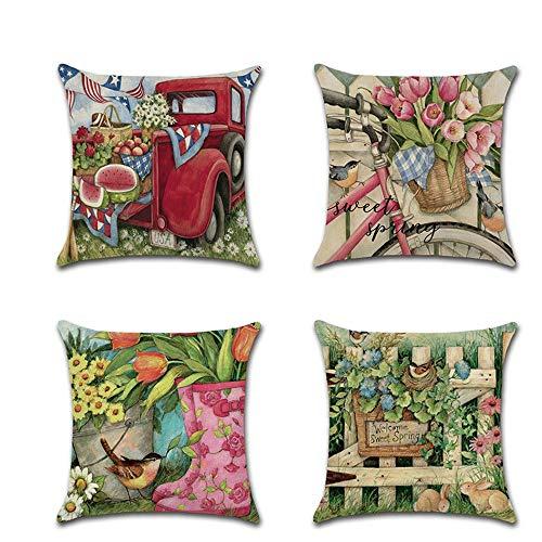 Stafeny Funda de almohada de 45,7 x 45,7 cm, diseño de animal, funda de cojín de lino, adecuada para dormitorio, interior o exterior (4 piezas)