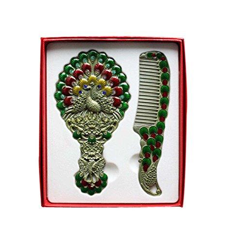 Exquise Retro Miroir cosmétique Portable et Peigne, Paon, Vert