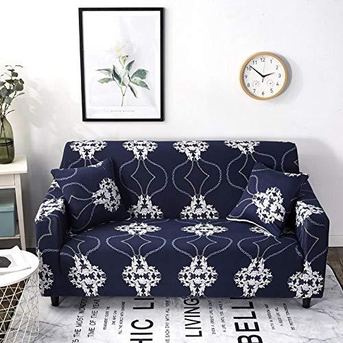 1 Plazas Funda de Sofá,Jacquard Poliéster Funda Sofa ,Flores Azules, Blancas Elasticas Suaves Resistentes Sofa Antideslizante Cubierta para Sofa Protector