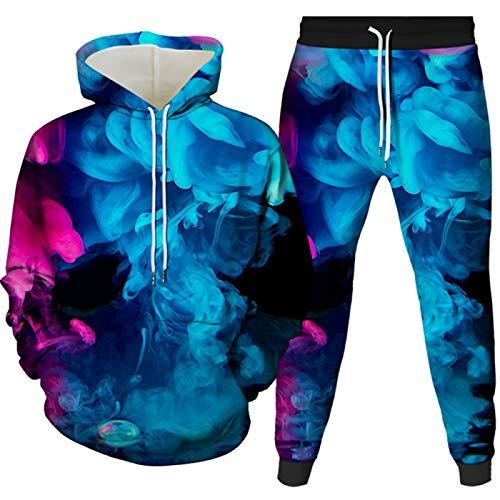 Los hombres de la impresión 3D de la moda de ropa deportiva con capucha suéter sudadera y pantalones de 2 piezas con capucha de la pareja de ropa