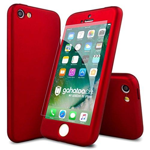 CASYLT [kompatibel für iPhone 5 / iPhone 5s / iPhone SE] Hülle 360 Grad Fullbody Case [inkl. 2x Panzerglas] Premium Komplettschutz Handyhülle Rot