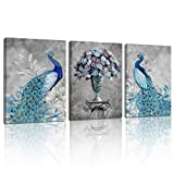 MELTBOR Animal Deep Blue Peacock Feathers Canvas Wall Art Mural - HD Print Modern Home Decorative Oil Painting –Wood Inner Frame Ready Hanging on Living Room Bedroom 12X16inX3pcs
