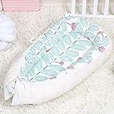 LTSWEET Bett Neugeborene Liege Baby Nestchen Multifunktionale Kuschelnest Babynest Kokon 80×50cm Baumwolle Atmungsaktiv Reisebett Säuglinge Matratzen 0-14 Monate,Beige