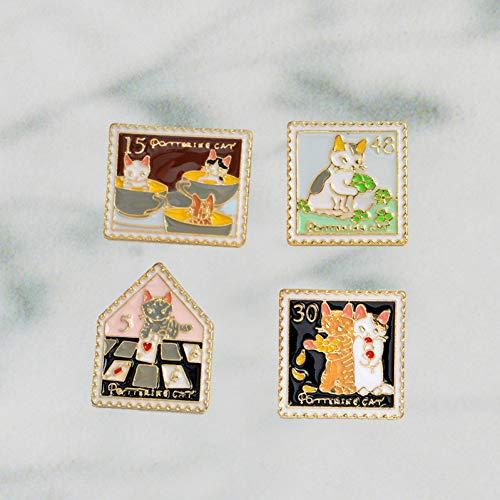 JTXZD broche 4 stks/set Mode Cartoon Speciale Goud Op maat gemaakte fotolijst Vorm Schattig Dier harde emaille pin voor vrouwen mannen