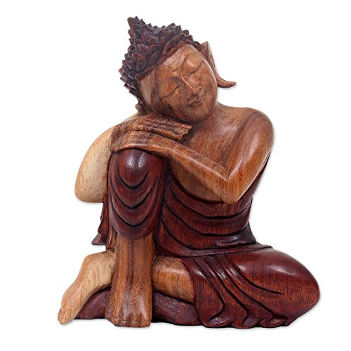 NOVICA Buddha Asleep Wood Sculpture
