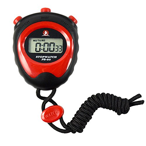 WiseField Digital Stopwatch LCD Chronograph Running Sports Timer Counter Clock (Red)