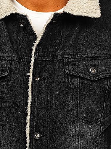 BOLF Hombre Chaqueta Vaquera Trucker Cierre de Botones Denim Entretiempo Jeans Cazadora Plumas Jacket Sweater Chaqueta de algodón Ocio Estilo Diario 1158 Negro L [4D4]