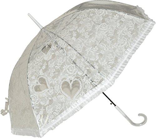 Transparenter durchsichtiger Regenschirm Spitze Hochzeitsschirm Farbverlauf im Griff Herzchen mit Automatik