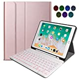 N/B Teclado Inalámbrico para iPad, 9.7 iPad Teclado Funda Portalápices de Apple Incorporado, Bluetooth Teclado Tablet con 7 Retroiluminados Colores para iPad 2018 2017 (5th 6th Gen) - Rose Gold