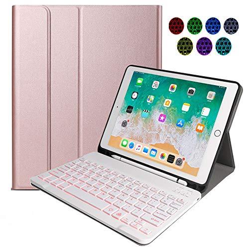 Teclado Inalámbrico para iPad, 9.7 iPad Teclado Funda Portalápices de Apple Incorporado, Bluetooth Teclado Tablet con 7 Retroiluminados Colores para iPad 2018 2017 (5th 6th Gen) - Rose Gold