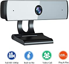Qiuli Webcam with Microphone, Full HD 1080P Web Camera with Built-in Microphone, USB Computer Camera for PC Laptop Desktop Mac Video Calling, Conferencing Skype YouTube