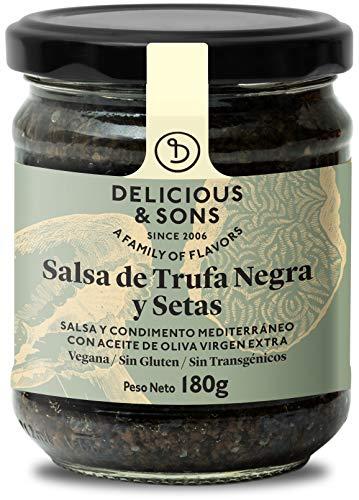 Delicious & Sons Salsa de Trufa Negra y Champiñones - Sin Transgénicos - Sin Gluten - Sin Azúcares Añadidos - Apto para dietas Paleo y Keto - Con Aceite de Oliva Virgen Extra 180g