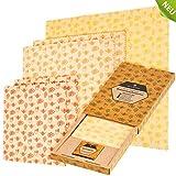 WILDBÄR® - NEU - Premium Bienenwachstücher - (5 Wraps + Wachsblock) Familien-Set - 100% natürlich mit GOTS Baumwolle - somit ist die Frischhaltefolie wiederverwendbar und eine echte Alternative