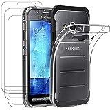 ivoler Funda para Samsung Galaxy Xcover 3, con 3 Unidades Cristal Templado, Transparente Suave TPU...