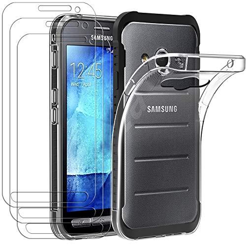 ivoler Hülle für Samsung Galaxy Xcover 3, mit 3 Stück Panzerglas Schutzfolie, Dünne Weiche TPU Silikon Transparent Stoßfest Schutzhülle Durchsichtige Handyhülle Kratzfest Hülle