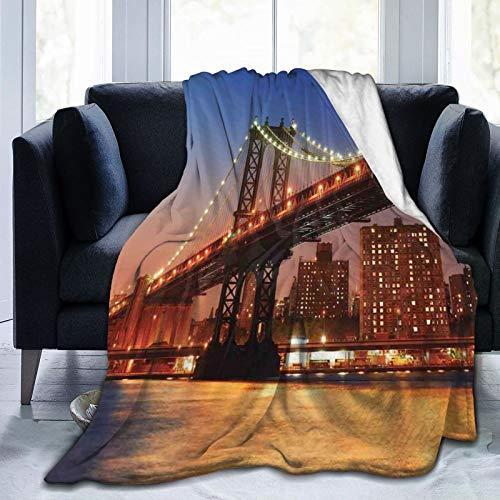 Gift for Mom Fleece Throw Poncho Throw Blanket Fringed Wrap Fleece Cape Manhattan Bridge With Night Lights Over Hudson River Brooklyn Popular Town Image 80'x60'