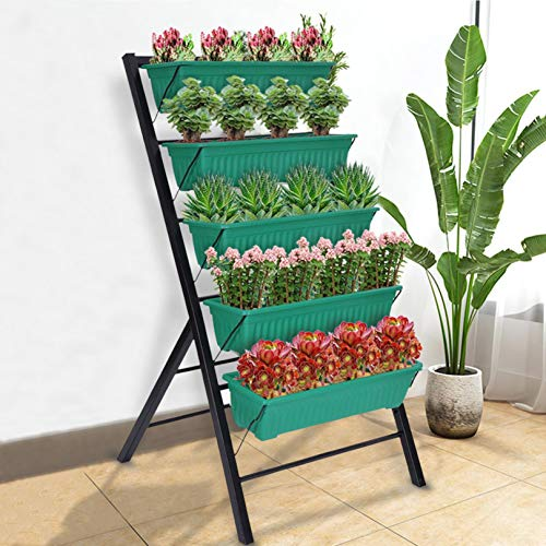 Raised Garden Bed, 5-Tier Vertical Garden Planter Freestanding Elevated Planter with 5 Drain Container Boxes, Cascading Water Drainage to Vegetables Herbs Flowers for Indoor Outdoor (Green)