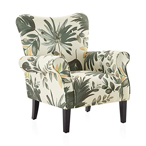 BELLEZE Modern Accent Chair Roll Arm Living Room Cushion Fabric w/Wooden Leg, Green Floral