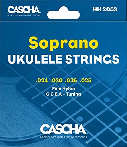 Cascha Sopran Ukulele-Saiten-Set I Premium-Nylon-Saiten für Sopran-Ukulelen I sehr gute Klang-Qualität & hohe Lebensdauer I hochwertiges 4er Saiten-Set G-C-E-A I Soprano Ukulele Strings 4 Stück
